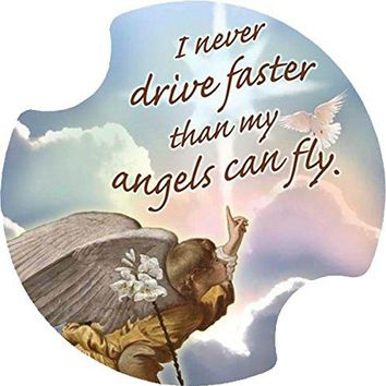 Thirstystone I Never Drive Faster Than My Angels Car Cup Holder Coaster 2Pack