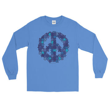 Puzzle Peace Sign Autism Spectrum Asperger Awareness Men's Long Sleeve T-Shirt