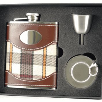 Visol Braw Plaid Cloth Brown Leather Stellar Hip Flask Gift Set  - 6 oz