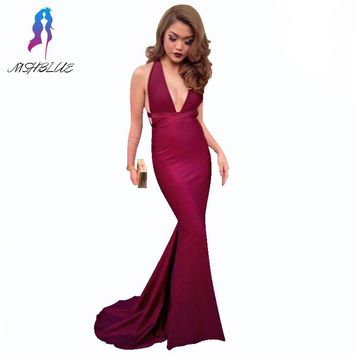 Sexy Burgundy Mermaid Prom Dresses Long Party Dress Halter Silk Stain Back Cross Women Evening Gown