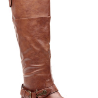 Chestnut Faux Leather Harley Biker Gal Calf Length Boots