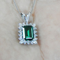 Emerald Pendant Necklace cluster Pendant Chatham Emerald 14K White gold Top quality