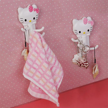 Free Shipping Multifunctional rotary  cute hello kitty wall door hangers hook for clothes hats bag key Suckers  plastic hook