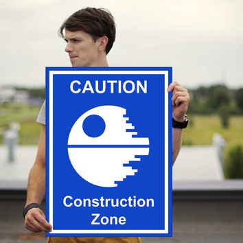 Death Star Caution Sign Poster - StarWars Poster - Star Wars - Death Star - Framed Poster - Canvas Print