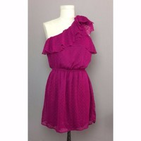 Jewel Tone Fuchsia One Shoulder Polka Dot Dress Juniors Sz L