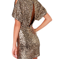 Sequined Cutout Short Sleeve Bodycon Mini Dress