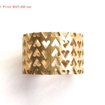 sale - Inverted Hearts Ring in Raw Brass. modern design, statement ring, 3d printed jewelry