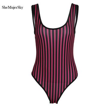 SheMujerSky Striped Jumpsuit Sexy Bodysuits Women  Body Femme Summer Overalls Playsuits