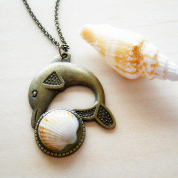 Real shell pendant, resin jewelry, antique brass dolphin necklace, holiday accessory, dolphin pendant, resin pendant