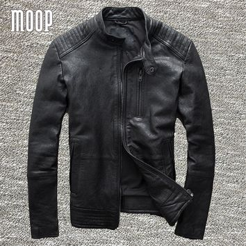 Black genuine leather jacket coats men 100% sheepskin motorcycle jackets chaqueta moto hombre veste cuir homme cappotto LT971