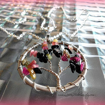 Tourmaline Tree of Life Necklace Boho direct checkout Ready to Ship