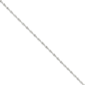 Sterling Silver 2mm Twisted Herringbone Chain Bracelet