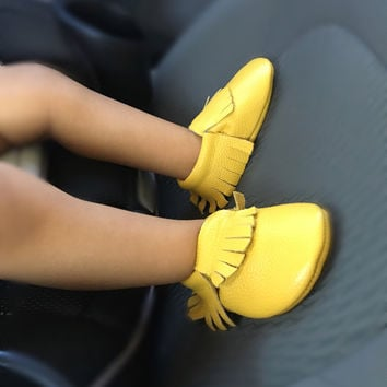 Lemon-Yellow Tassel Leather Baby, Toddler Moccasins