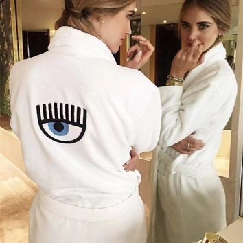 Chiara Ferragni White Cashmere Robe Bathrobes - Soft and comfortable1