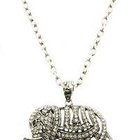 NECKLACE / ELEPHANT / PAVE CRYSTAL STONE / TEXTURED METAL SETTING / LINK / CHAIN / 22 INCH LONG / 2 INCH DROP / NICKEL AND LEAD COMPLIANT