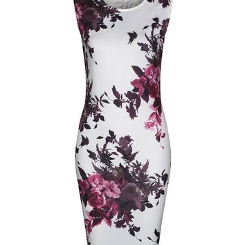 Streetstyle  Casual Fancy Sleeveless Round Neck Bodycon Dress In Floral Printed
