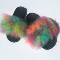 Multicolor faux fur slides colorful fur slippers