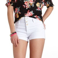 "Refuge ""Hi-Waist Shortie"" Cuffed Denim Shorts - White"