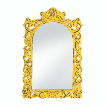Wooden Opulent Distressed Yellow Wall Mirror