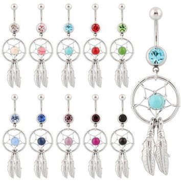 ac PEAPO2Q Belly button ring Body piercing Jewelry Dangle Dream Catcher Crystal Gem 14G Surgical Steel Nickel free 10 colors Free shipping