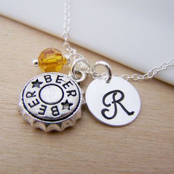 Beer Bottle Cap Charm Swarovski Birthstone Initial Personalized Sterling Silver Necklace / Gift for Her