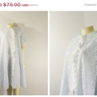 SALE Vintage Peignoir Robe 60s Mad Men Blue & White Lace Fashions by Marilyn Union Made in USA size Medium Modern S M L Xl