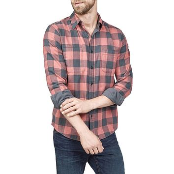 Reversible Belmar Shirt in Grey and Red Buffalo Check by Faherty - FINAL SALE