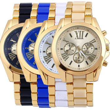 4-pack Women's Men's Unisex Watches Roman Numeral Gold Plated Metal Nylon Link Watch