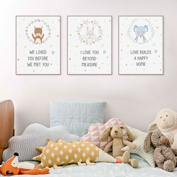 Love Quotes Kawaii Cute Animal Bear Elephant Canvas Big Art Print Poster No Frame Wall Picture Paintings Nordic Kids Room Decor