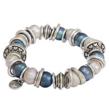 """6"""" 10.5-11mm Blue and Silver Baroque Shaped Freshwater Pearl and Stainless Steel Rings"""