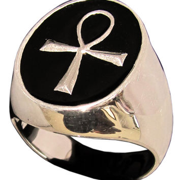Egyptian Ankh Ring Symbol of Eternal Life in Bronze
