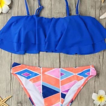 Chicloth Padded Top Geometric Print Bottom Bandeau Bikini Removable Strap Ruffled