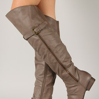 Westy-2 Buckle Slouchy Round Toe Thigh High Boot
