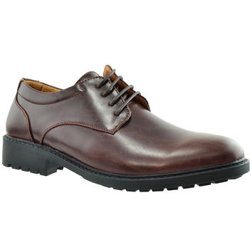 Mens Dress Shoes Lace Up Padded Oxford  Almond Toe Chunky Heel Dark Brown