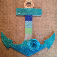 Handmade Striped Glitter And Rose Anchor Wall Decor