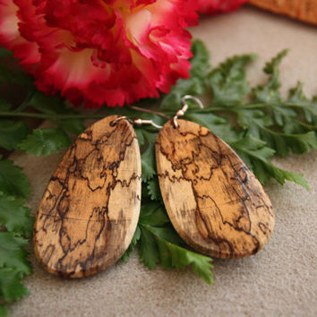 Spalted Tamarind Dangle Exotic Wood Earrings by ExoticWoodJewelryAnd Ecofriendly repurposed