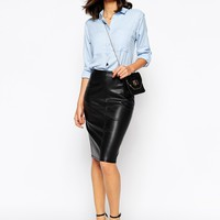 Warehouse Faux Leather Pencil Skirt at asos.com