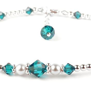 Handmade Sterling Silver Crystal Ankle Bracelets  | Birthstone Blue Zircon December