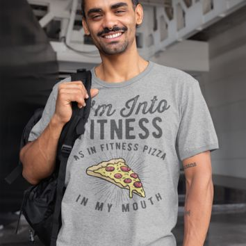 Men's Funny Pizza T Shirt Pizza Shirts Into Fitness Pizza In Mouth Workout Tee Foodie TShirt Pizza Shirts