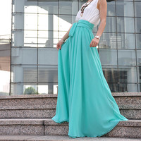 High Waist Maxi Skirt Chiffon Silk Skirts Beautiful Bow Tie Elastic Waist Summer Skirt Floor Length Long Skirt (037), #115