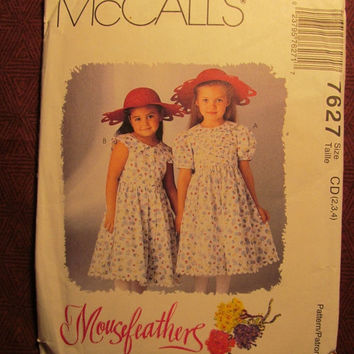 SALE Uncut 1995 McCall's Sewing Pattern, 7627! 2-3-4 Toddler/Girls/Kids/Child/Sleeveless or Short Sleeve Dresses/Collared Dress/Flared Dress