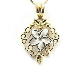 SOLID 14K WHITE GOLD HAWAIIAN PLUMERIA FLOWER YELLOW GOLD FILIGREE PENDANT