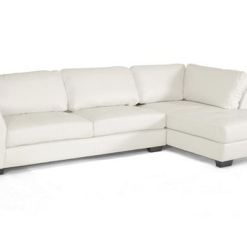 Baxton Studio Orland White Leather Modern Sectional Sofa Set with Right Facing Chaise Set of
