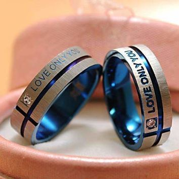 """ATGO Fashion Jewelry 316L Stainless Steel Simple Circle """"Love Only You"""" Couple Rings,Wedding Ring,Engagement Rings BR003"""