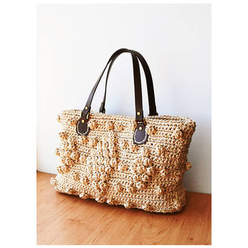 Straw handbag crochet natural raffia bag woven straw purse with genuine leather handles Gerard Darel inspired straw tote bag beach tote bag