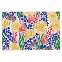 "Amy Reber ""Pretty Bouquet"" Yellow Floral Decorative Door Mat"