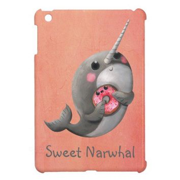Shy Narwhal with Donut Case For The iPad Mini from Zazzle.com