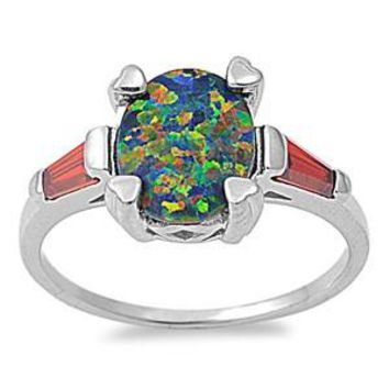 Sterling Silver Oval CZ Garnet CZ 10MM Black Lab Opal Ring
