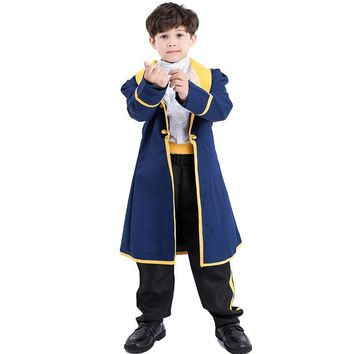 Children Beauty And The Beast King Costumes Cosplay Set For Boy Halloween Party Carnival Fancy Fairy Costume M-XL