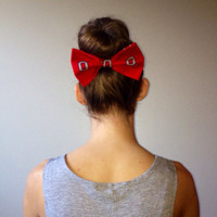 Ohio State University Block O Fabric Hair Bow